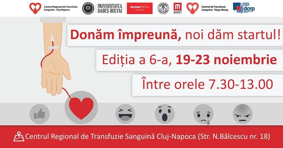 """UBB demarează a şasea ediţie a campaniei de donare de sânge """"Donăm împreună, noi dăm startul!"""""""