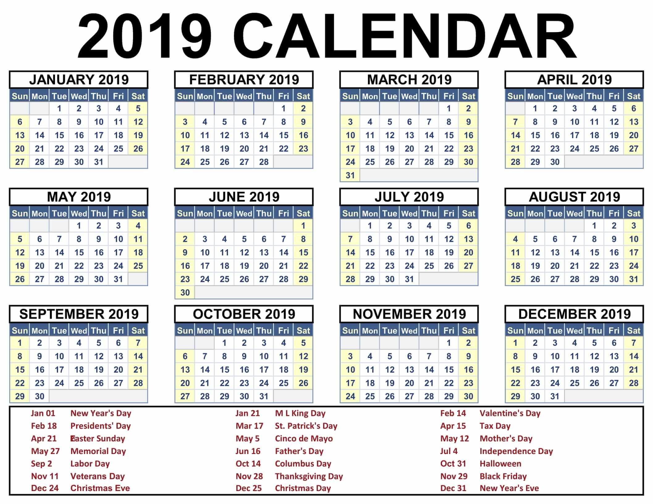 Zile libere 2019 – Cum arată calendarul sărbătorilor legale de anul viitor!
