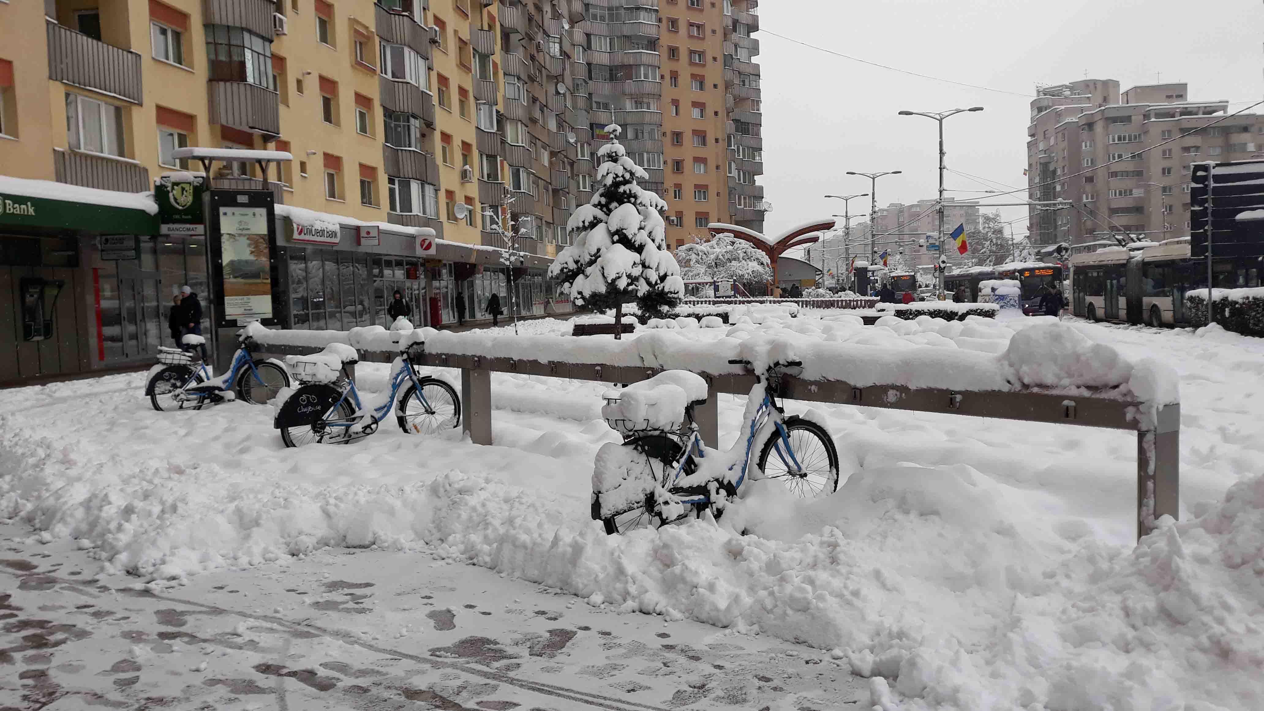 """Primăria Clujului, luată prin surprindere de iarnă în decembrie! Bicicletele """"Cluj Bike"""", îngropate în zăpadă!"""