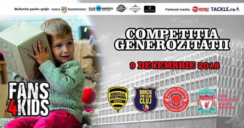 Competiţia generozităţii – Suporterii din patru fancluburi din Cluj îşi unesc forţele pentru copiii defavorizaţi