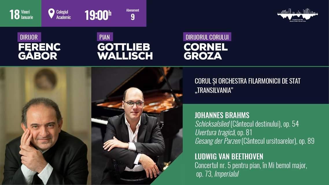 Lucrări de Johannes Brahms şi Ludwig van Beethoven, pe scena Filarmonicii Cluj