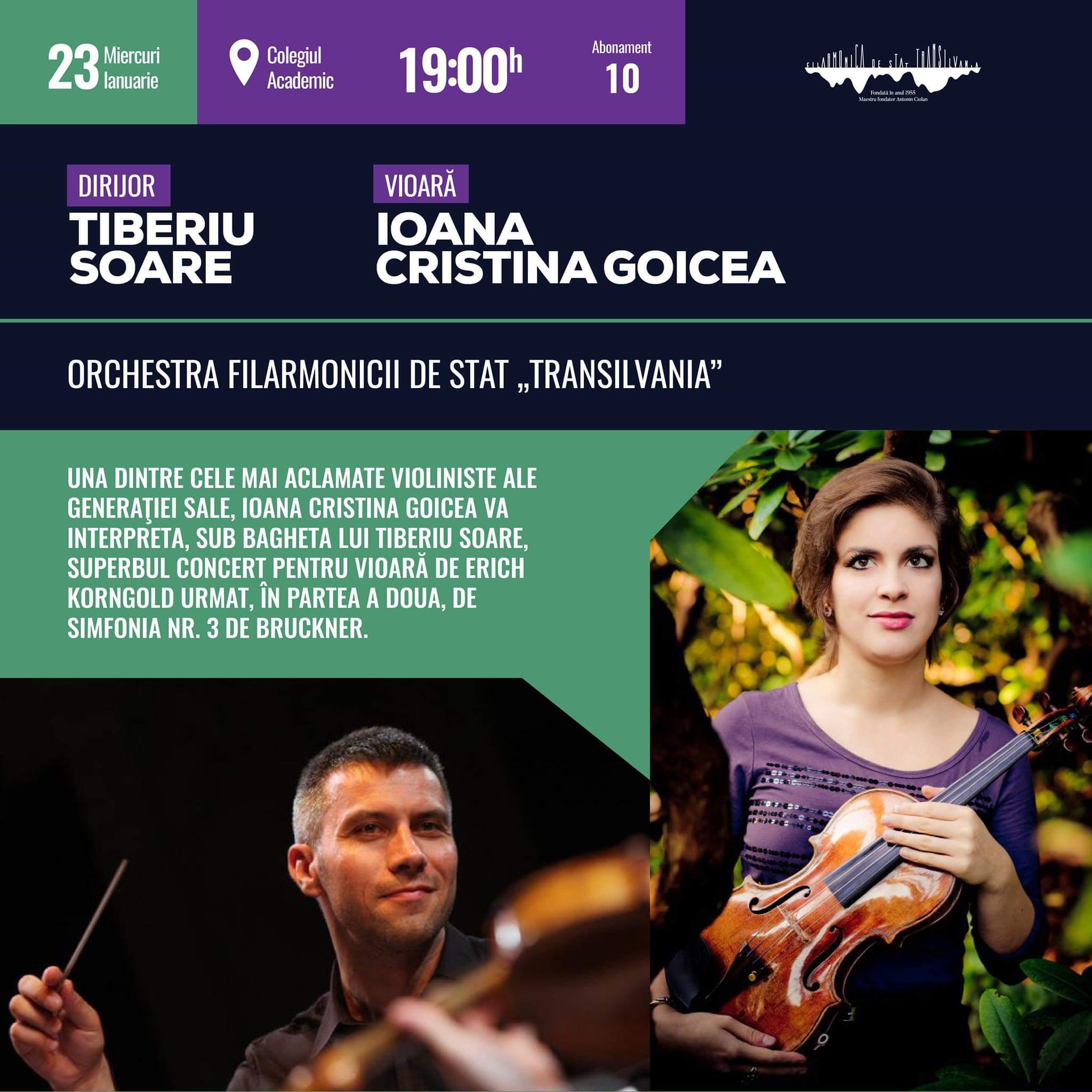 """Concert simfonic sub bagheta dirijorului Tiberiu Soare, pe scena Filarmonicii de Stat """"Transilvania"""""""