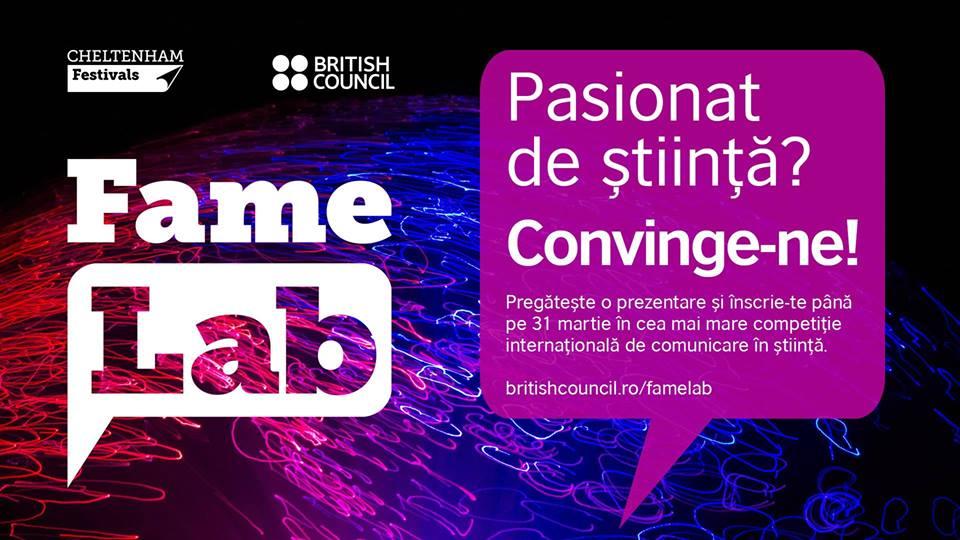 FameLab, cea mai mare competiție internațională de comunicare a științei – deschisă pentru studenții și cercetătorii români