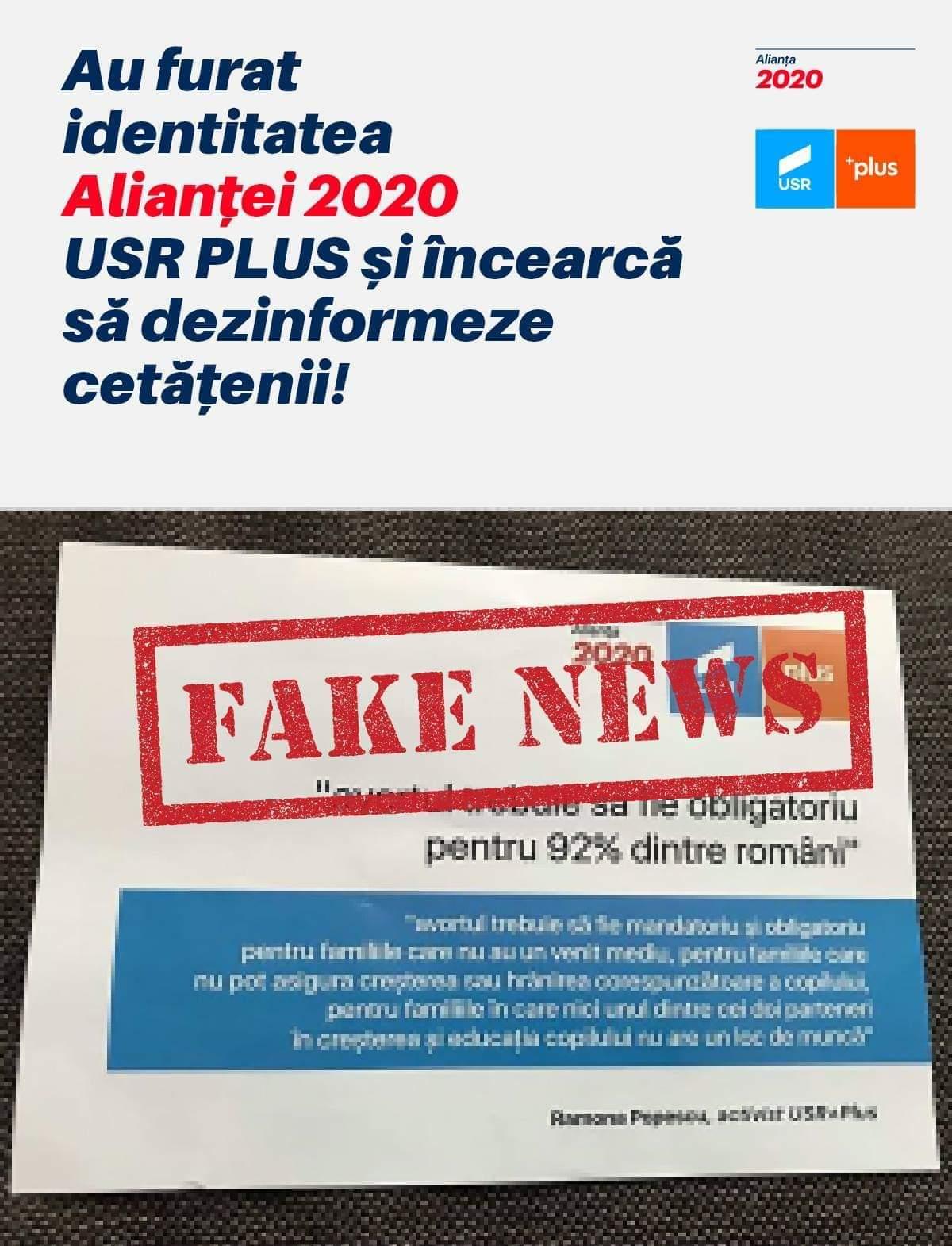 Manipulare și fake news! Alianța USR-PLUS atacată cu pliante electorale mincinoase și FALSE în cutiile poștale ale clujenilor!