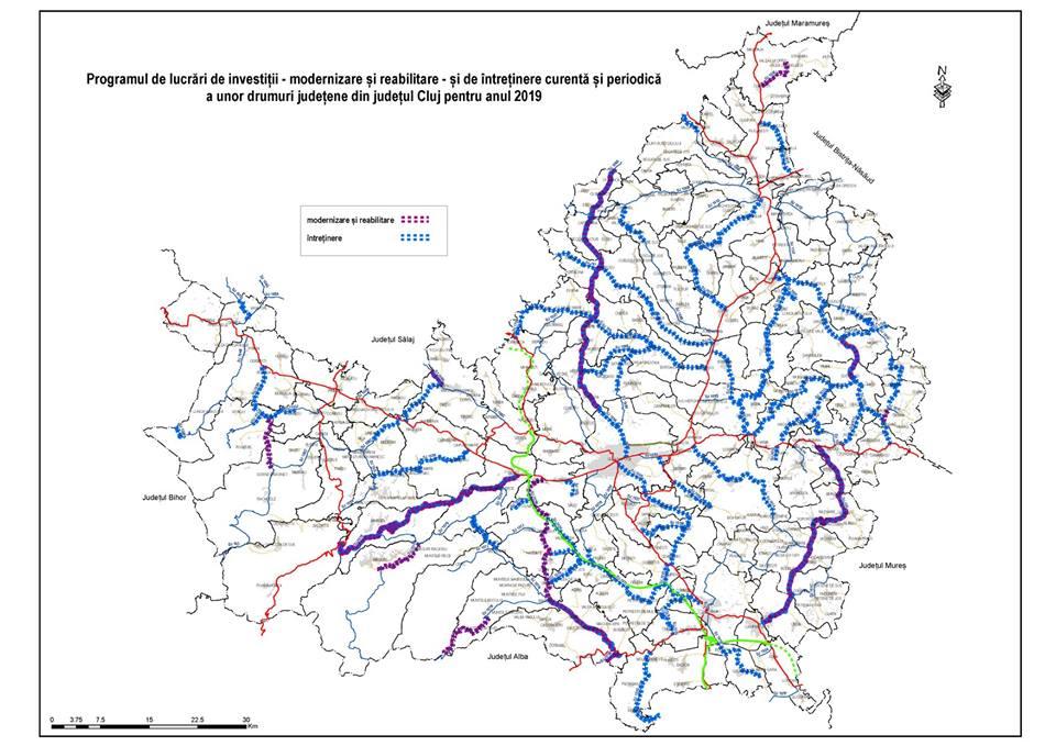 47 de drumuri județene din Cluj vor beneficia de lucrări în anul 2019