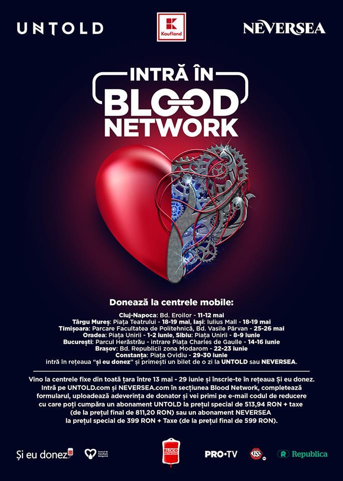 """Donezi sânge și câștigi bilete la cele mai tari festivaluri ale verii: UNTOLD și NEVERSEA! Campania """"Blood Network"""" ia startul de la Cluj, în acest weekend, pe Eroilor!"""