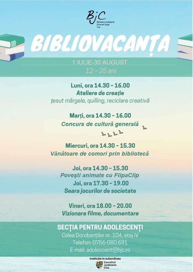"""Program de vară la Biblioteca Județeană """"Octavian Goga"""" Cluj"""