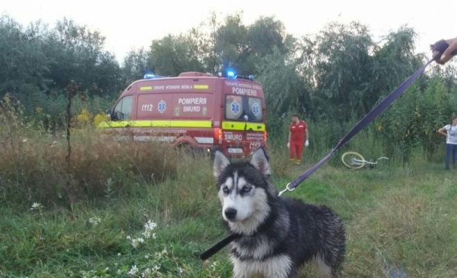 Un băiat și câinele său, salvați de pompierii clujeni din albia Someșului în Apahida