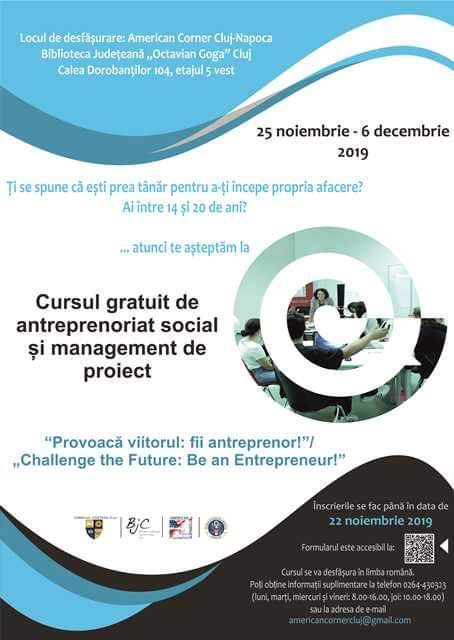 """Curs gratuit de antreprenoriat social pentru tineri, la Biblioteca Județeană """"Octavian Goga"""""""