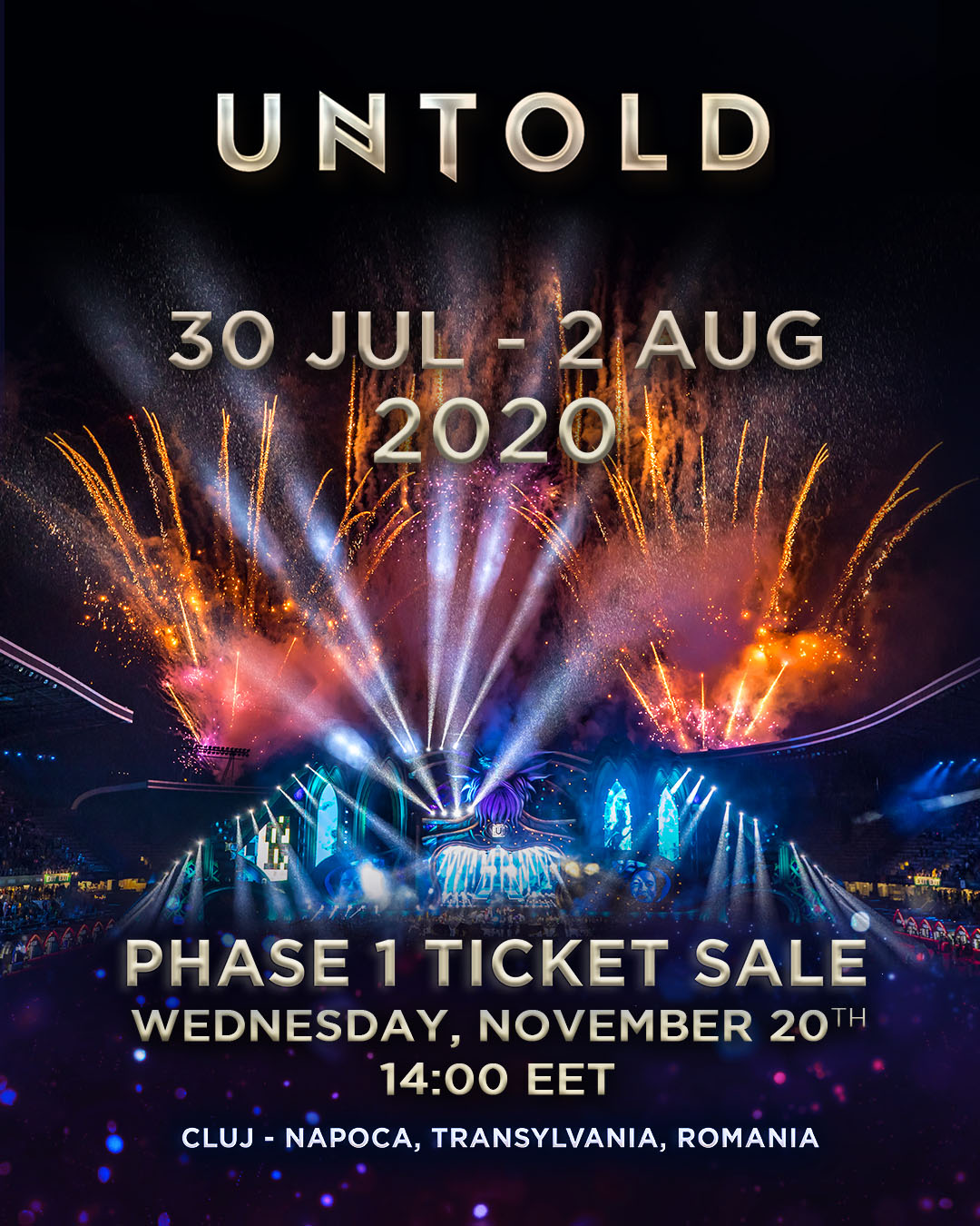 UNTOLD 2020, ediția a 6-a, la Cluj, pe 30 iulie – 2 august! Primele abonamente la preț special vor fi scoase la vânzare miercuri