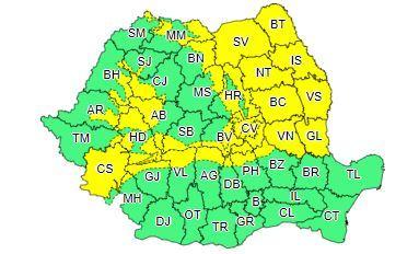 ANM: Cod galben de intensificări ale vântului, precipitații mixte și ninsori, în cea mai mare parte din țară