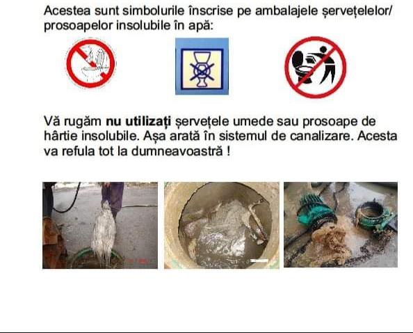 """Campanie de conștientizare publică a Companiei de Apă Someș: """"Șervețele de hârtie ne inundă"""""""