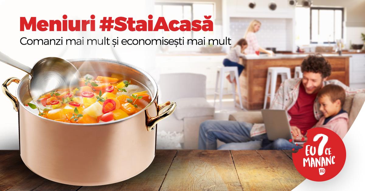 Aplicația EuCeMananc lansează meniuri predefinite #StaiAcasa! Opțiunea este disponibilă și pentru Cluj-Napoca