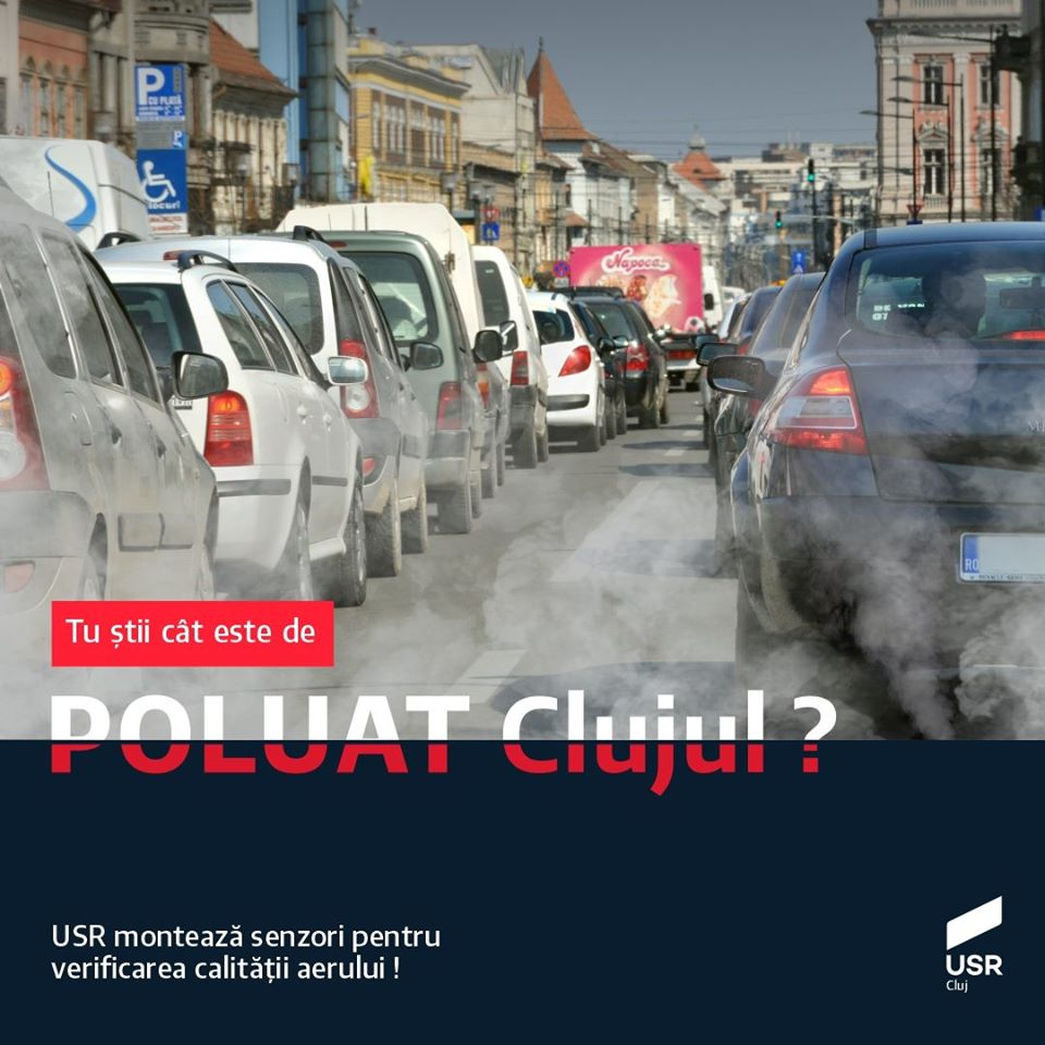 Clujul poluat. USR Cluj susține montarea senzorilor pentru verificarea calității aerului