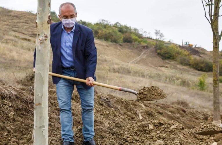 """""""Gospodarul"""" Emil Boc a făcut, dar a și dat la sapă. A început plantarea primilor copaci din Pădurea Clujenilor – FOTO"""