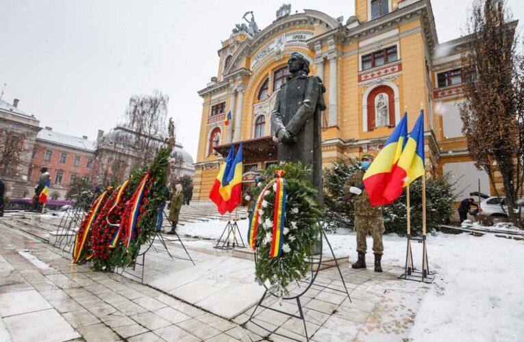Ziua Culturii Naționale, marcată la Cluj-Napoca cu discursuri și depuneri de coroane la monumentul lui Eminescu
